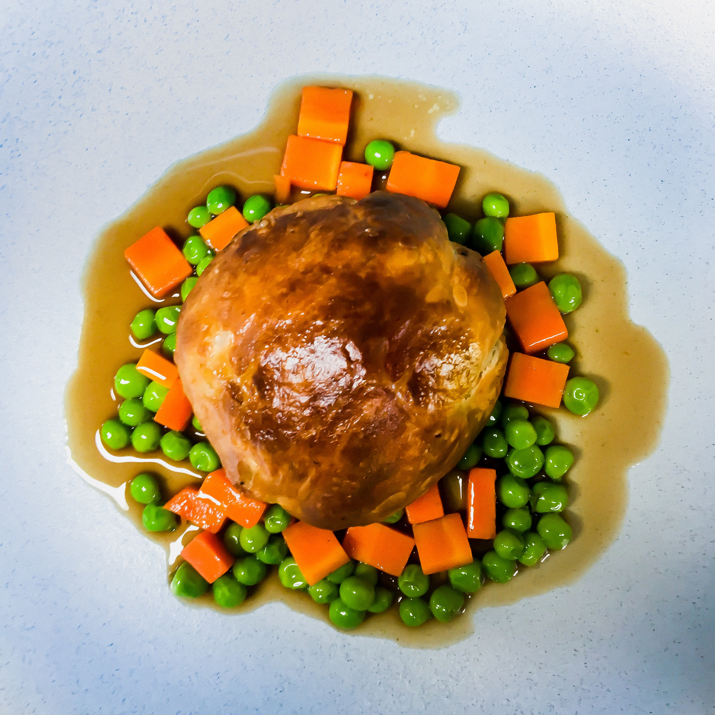 Milly Hill Lamb Pie with Winter Peas, Falls Farm Carrots & Jus