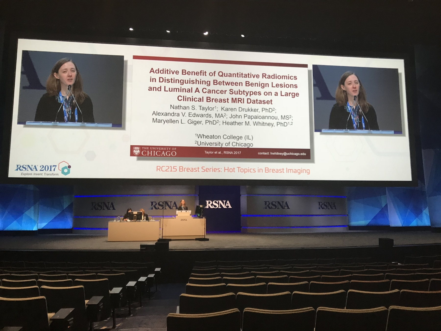 Our presentation during RSNA. The room wasn't *that* empty, but indeed there were not 4200 people interested in the talk. (photo credit: Allen Newton. Hurrah for grad school friends who will come and sit through a long session on research that doesn't really relate to their own work.)
