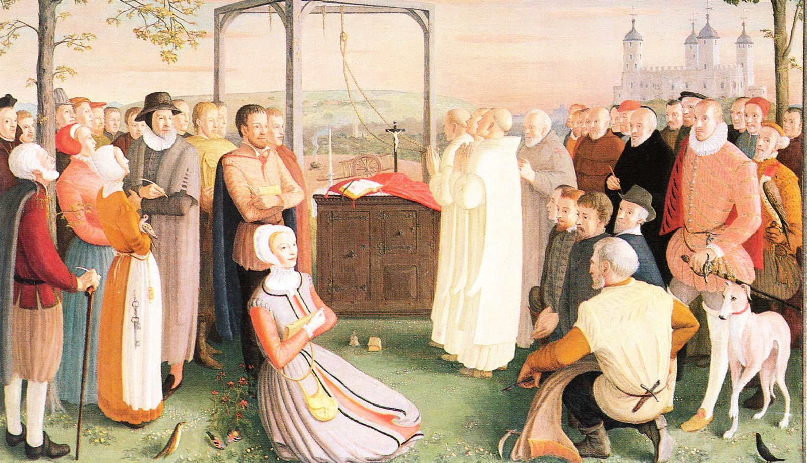 The painting by Daphne Pollen (1904-86) commissioned for the 1970 canonization of the forty martyrs of England and Wales.   PAINTING KEY ▸