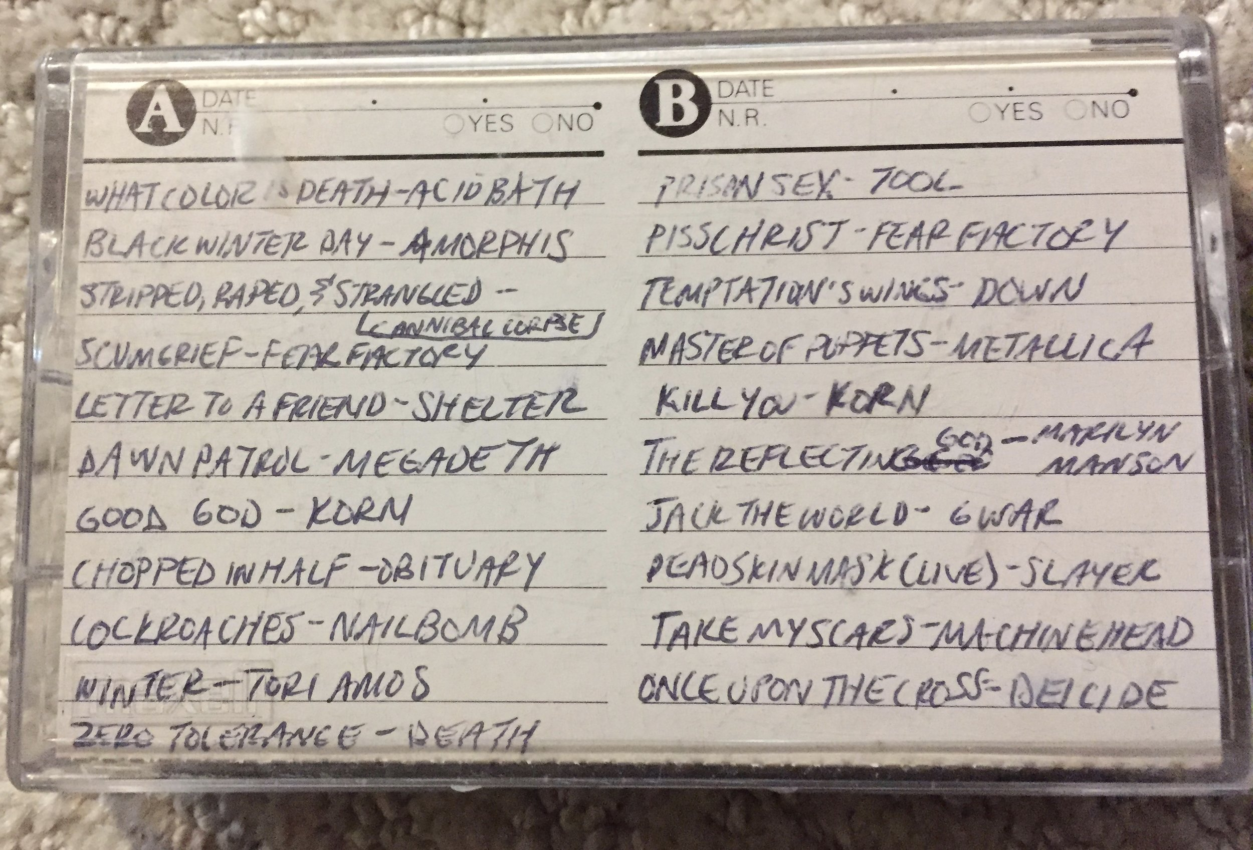 The list of songs on this particular mix, it jumped around a bit. But, it's a mix. It's supposed to be mixed up! This was made for me by my best friend, Amelia, who was able to sneak in a Tori Amos song amongst the metal. Well done, Shameal.