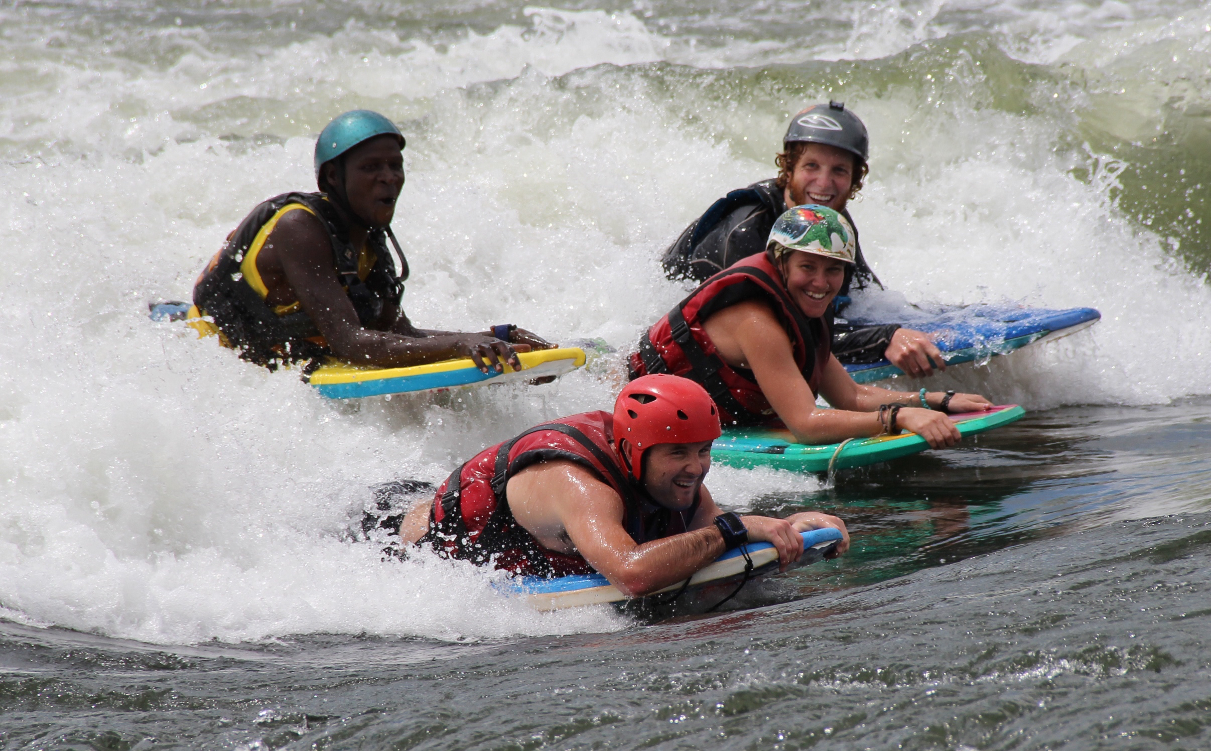 The waves look a lot bigger from down here... - Been rafting already? Want to see the river from a whole new perspective? Join us for an incredible day running the mighty rapids of the White Nile with nothing more than a pair of fins strapped to your feet and a bodyboard to hold onto!!