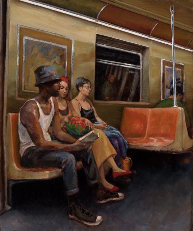 """SUBWAY CAR - oil on canvas - 24""""x20"""""""
