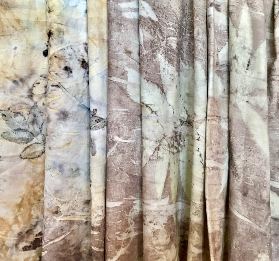 - Thrift store cotton bed sheet dyed with plants from my garden.
