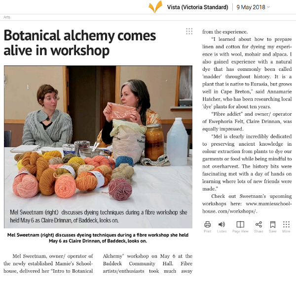 Victoria Standard profile… - The Victoria Standard profiled Mamie's Schoolhouse's inaugural workshop, held on May 6 2018. Fourteen fibre artists and historical re-enactors participated.