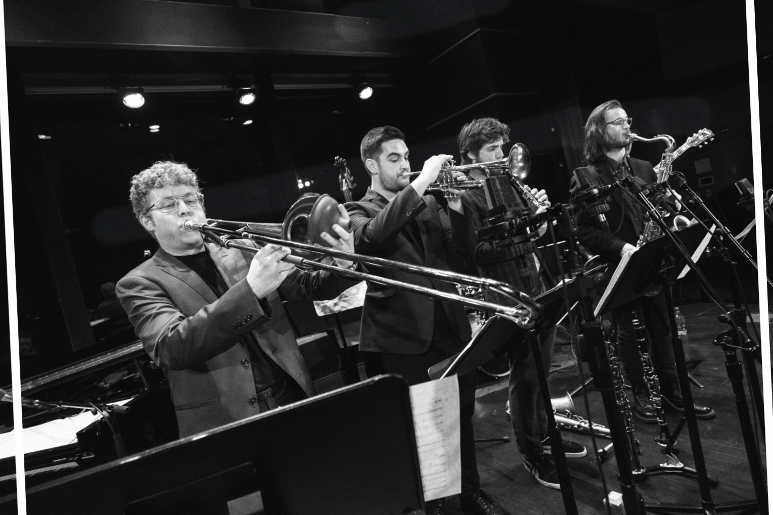 live at dizzy's club coca cola, june 2018 —  photo by kevin jiang  left to right: sam chess, noah halpern, gideon tazelaar, xavier del castillo (not pictured: dan chmielinski, robbie lee, gabe schnider)