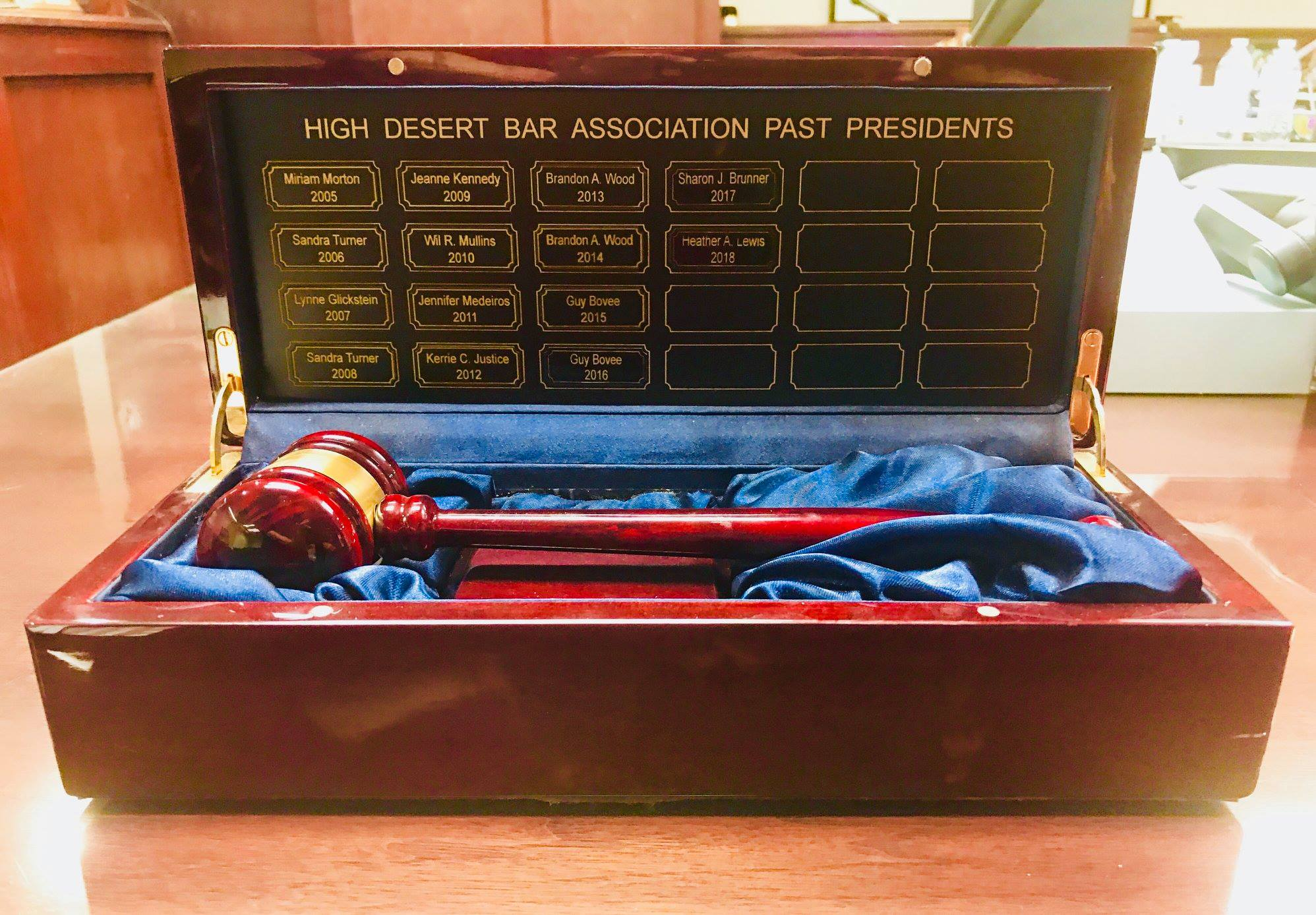 - HDBA President's Gavel recognizing the Bar Associations past and current Presidents.
