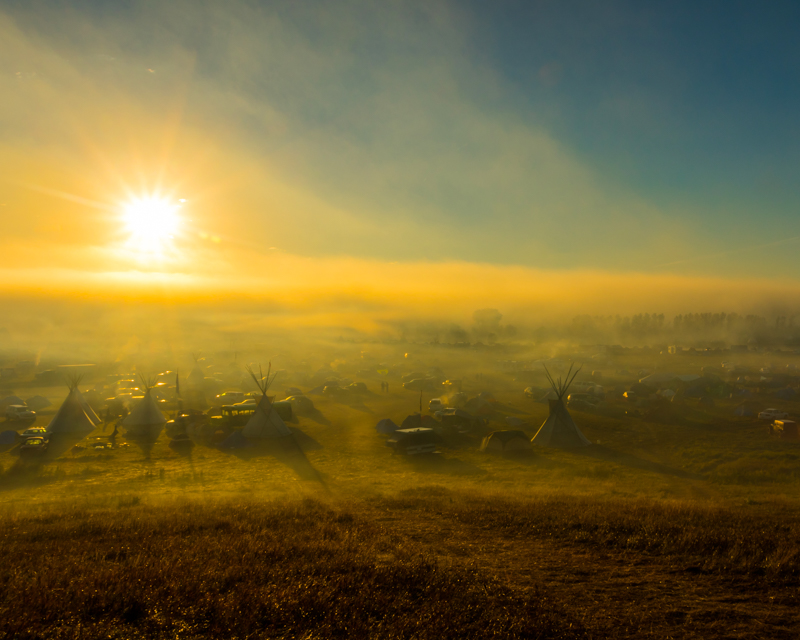 """""""Saturday Morning over Oceti Sakowin""""  September 17th, 2016 at Oceti Sakowin on the Standing Rock Sioux Reservation near Cannonball, ND"""