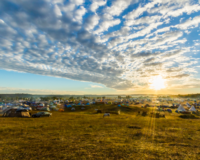 """""""Monday Morning over Oceti"""" September 19th, 2016 at Oceti Sakowin on the Standing Rock Sioux Reservation near Cannonball, ND"""