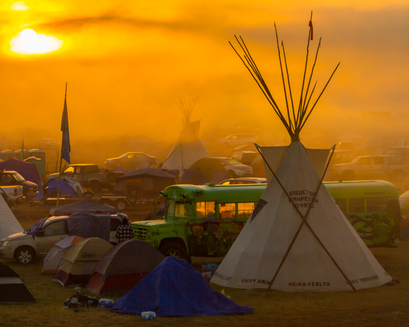 """""""Saturday Foggy Morning Bus"""" at Oceti Sakowin on the Standing Rock Sioux Reservation near Cannonball, ND"""