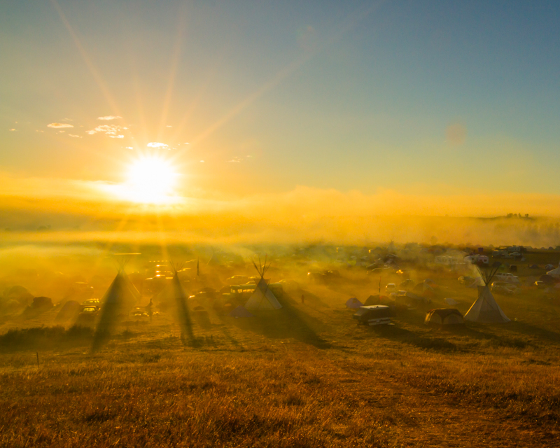 """""""Sunday Morning over Oceti Sakowin"""" September 18th, 2016 at Oceti Sakowin on the Standing Rock Sioux Reservation near Cannonball, ND"""