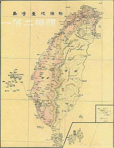 1895年日本人畫的台灣地圖,沒有著色的地方就是蕃地,就是原住民生活的空間,大約與十年前學者所做的傳統領域調查大致符合,圖片來自 這邊 。