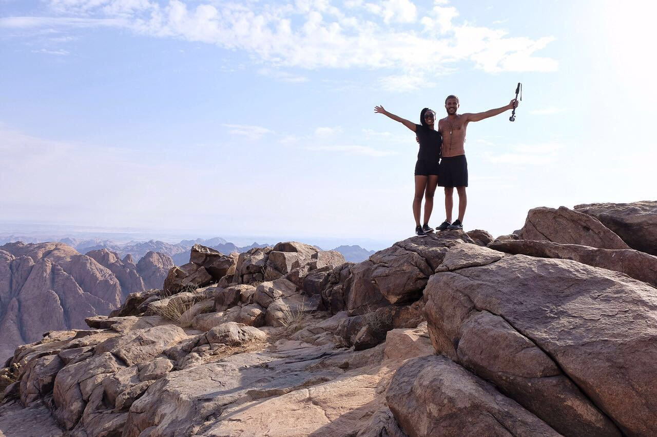 Me and my Egyptian brozar, Omar Misho at the top of Mount Sinai!! WE MADE IT!