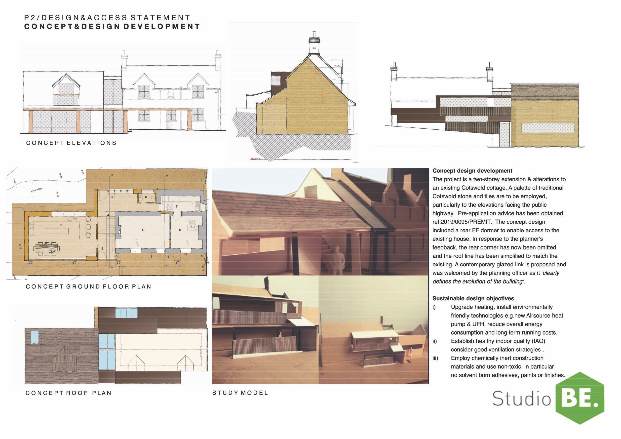 Two-storey extension to Cotswold cottage near Stroud, Gloucestershire. The key objectives include employing a palette of traditional, local & sustainable construction materials, an energy efficient design and to establish a healthy indoor climate.