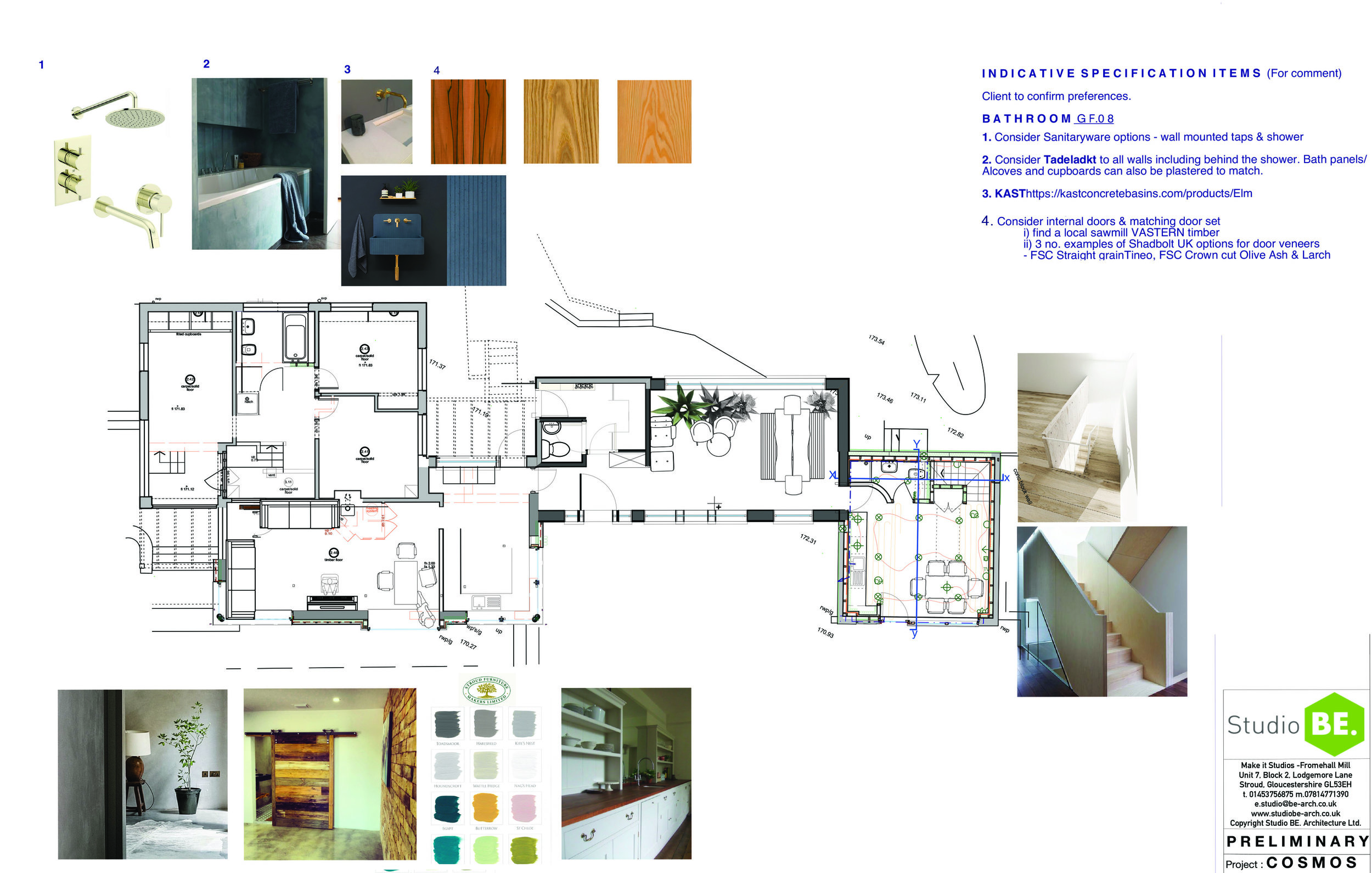 Proposed Ground Floor plan & examples of 'Internal' fit out items for client review & discussion.