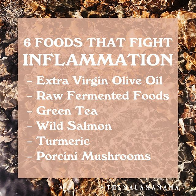 EVOO 🔑 Ingredient: Oleocanthal Fermented Foods 🔑 Ingredient: Live Probiotics Green Tea 🔑 Ingredient: Epigallocatechin Gallate Wild Salmon 🔑 Ingredient: EPA Omega 3 Fat Turmeric 🔑 Ingredient: Curcumin Porcini Mushrooms 🔑 Ingredient: Glutathione 〰️ Inflammation is the natural response of our immune systems when they are repairing from injury and defending against infection. Unfortunately, today, our immune systems are chronically activated due to our diets and lifestyles, causing our bodies to constantly be on the defense. This accelerates aging and the onset/worsening of many of the diseases plaguing our society. It can also drive feelings of depression. 〰️ Eating foods that are anti-inflammatory can help us win the battle against chronic inflammation. Try googling Inflammation and what chronic inflammation causes in our body. 〰️ By regularly incorporating these foods, as well as avoiding the inflammatory ones(excess added sugars + processed foods), you can help your body fight off the excess inflammation caused by our own immune system.