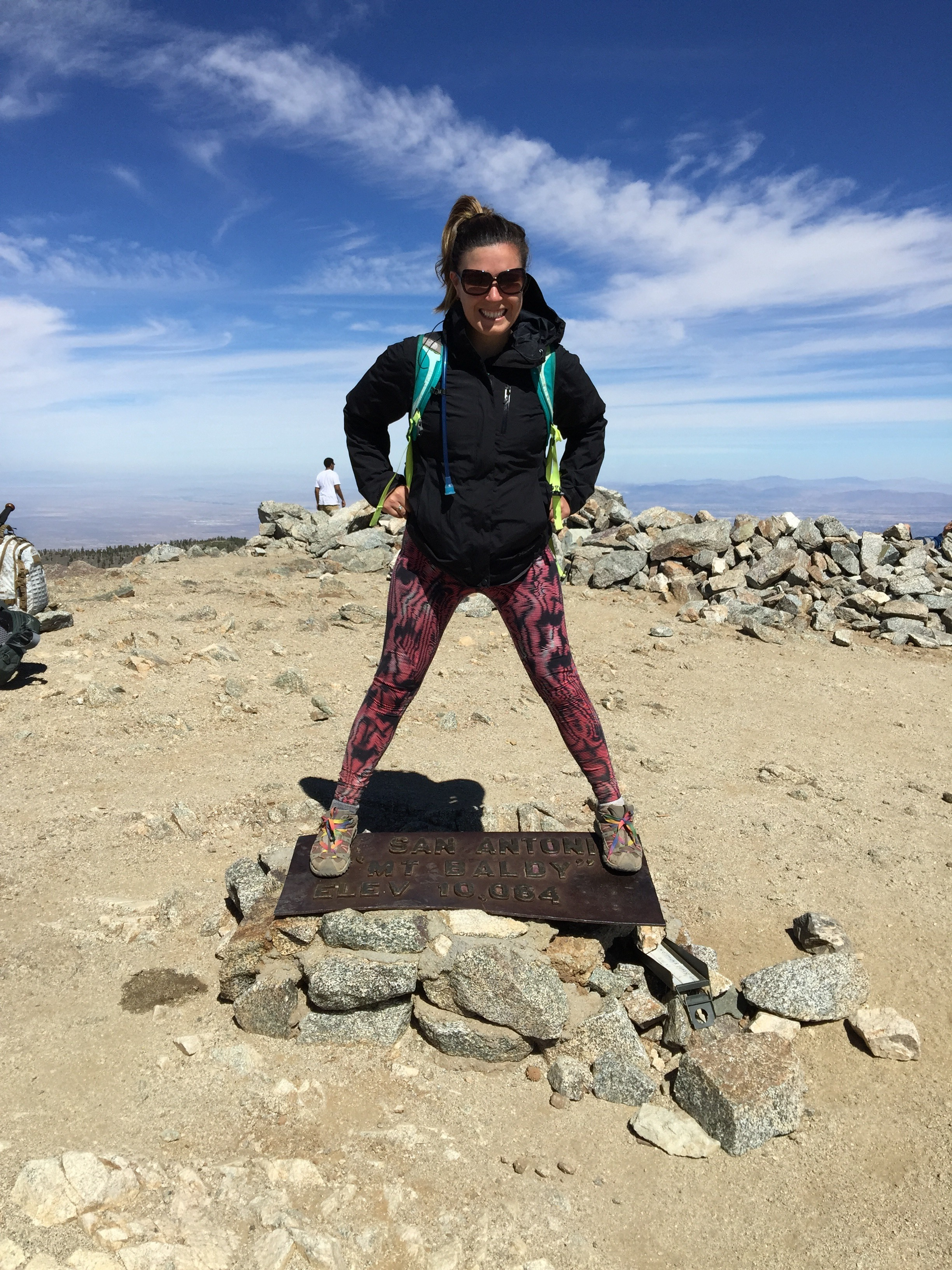 Spring 2016 Mt. Baldy. 85 degrees at the trail head with 30mph winds at the summit. This is why you always need an extra layer in your pack. Jacket: Marmot rain shell. Pants: Nike