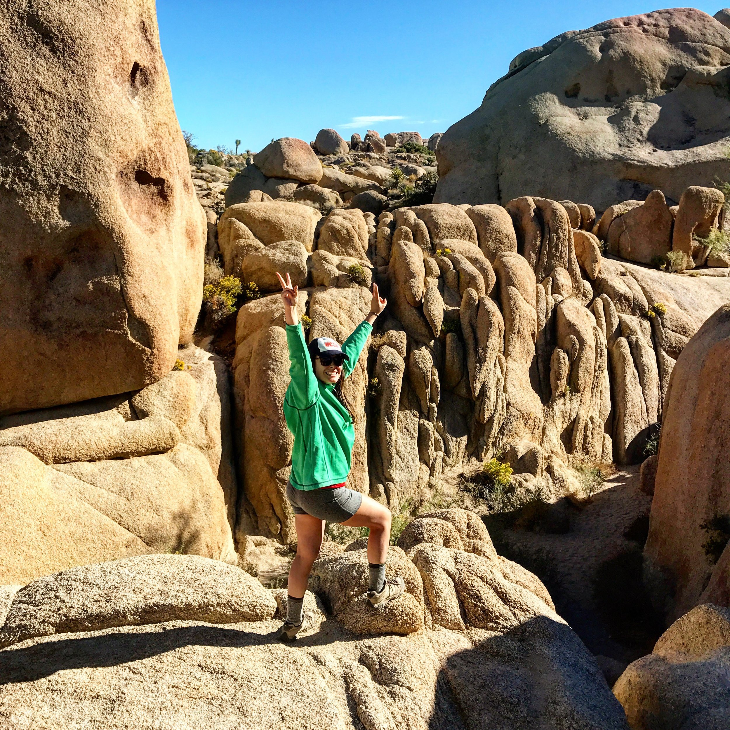 Nature rocks at Joshua Tree. Base layer: The North Face Dri-Fit shorts, Angels Baseball Dri-Fit T-shirt, Pullover fleece from Costco (trying to save a dollar). Don't forget your sock liners and wool socks (even in warm weather).