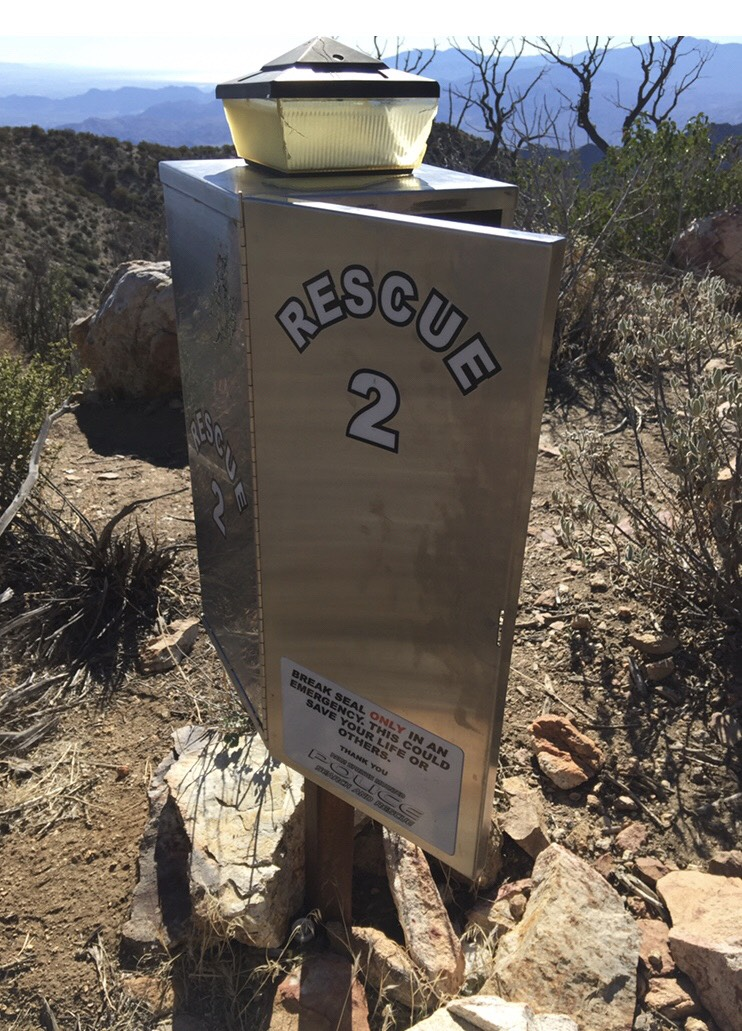 One of the rescue boxes on the Cactus to Clouds trail.