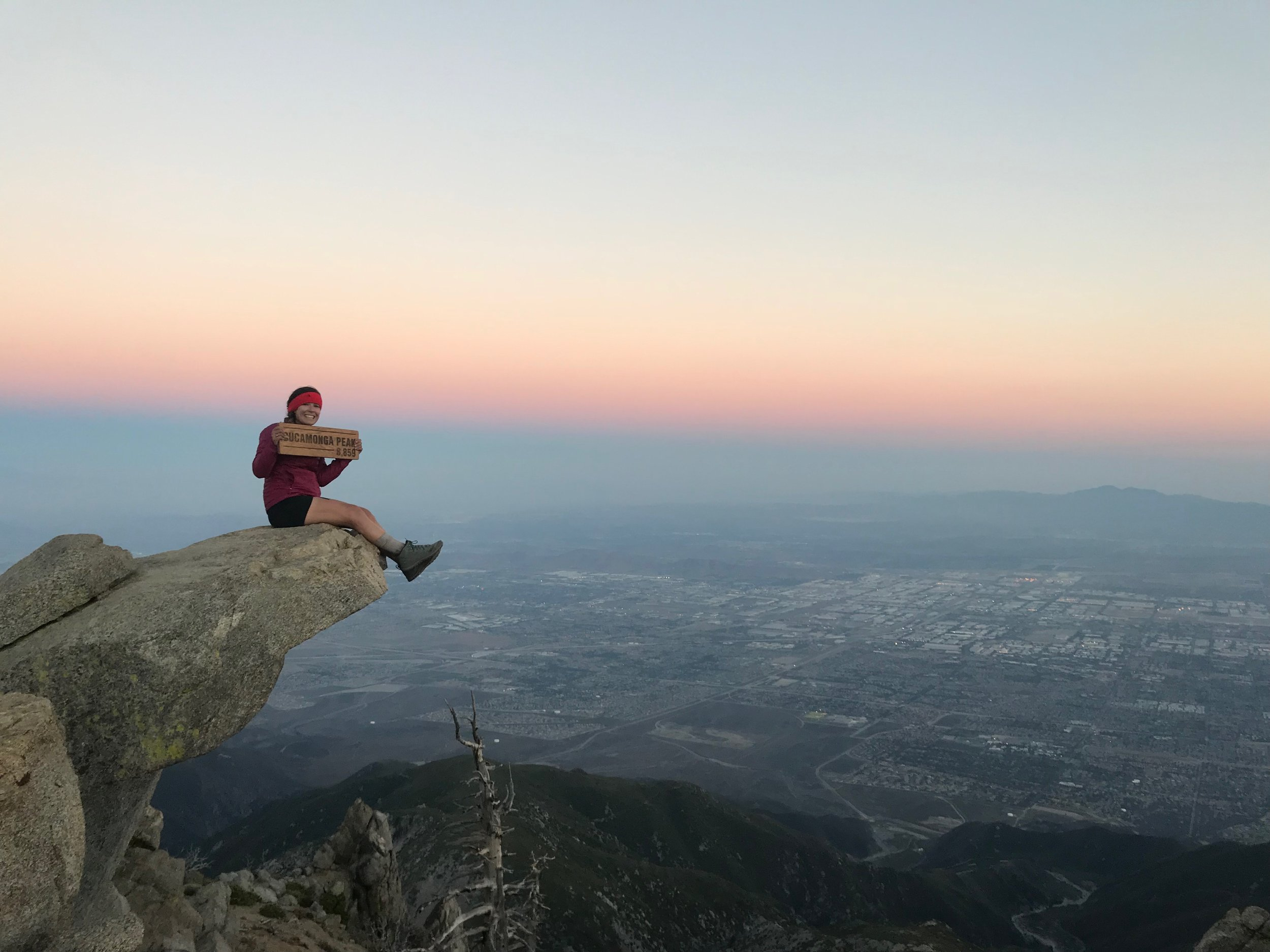 Sitting on top of the world watching the sunset.