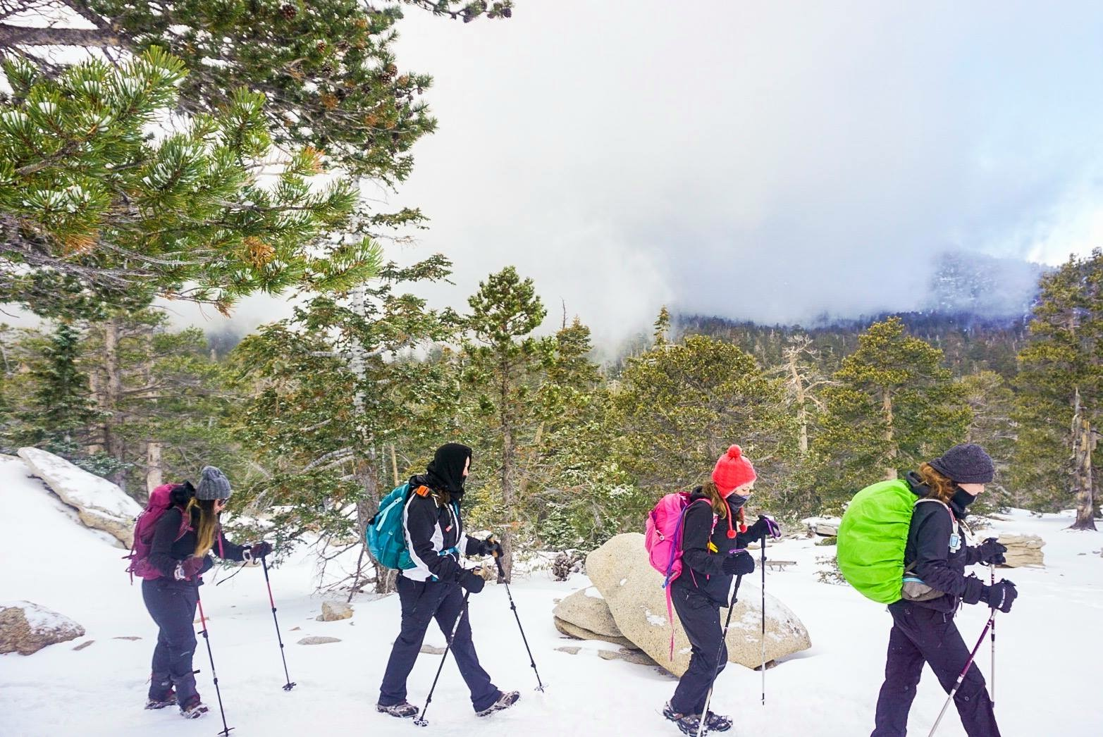 January 2018: GirlsWhoHike Snow Hike in San Jacinto Wilderness to Wellman's Divide