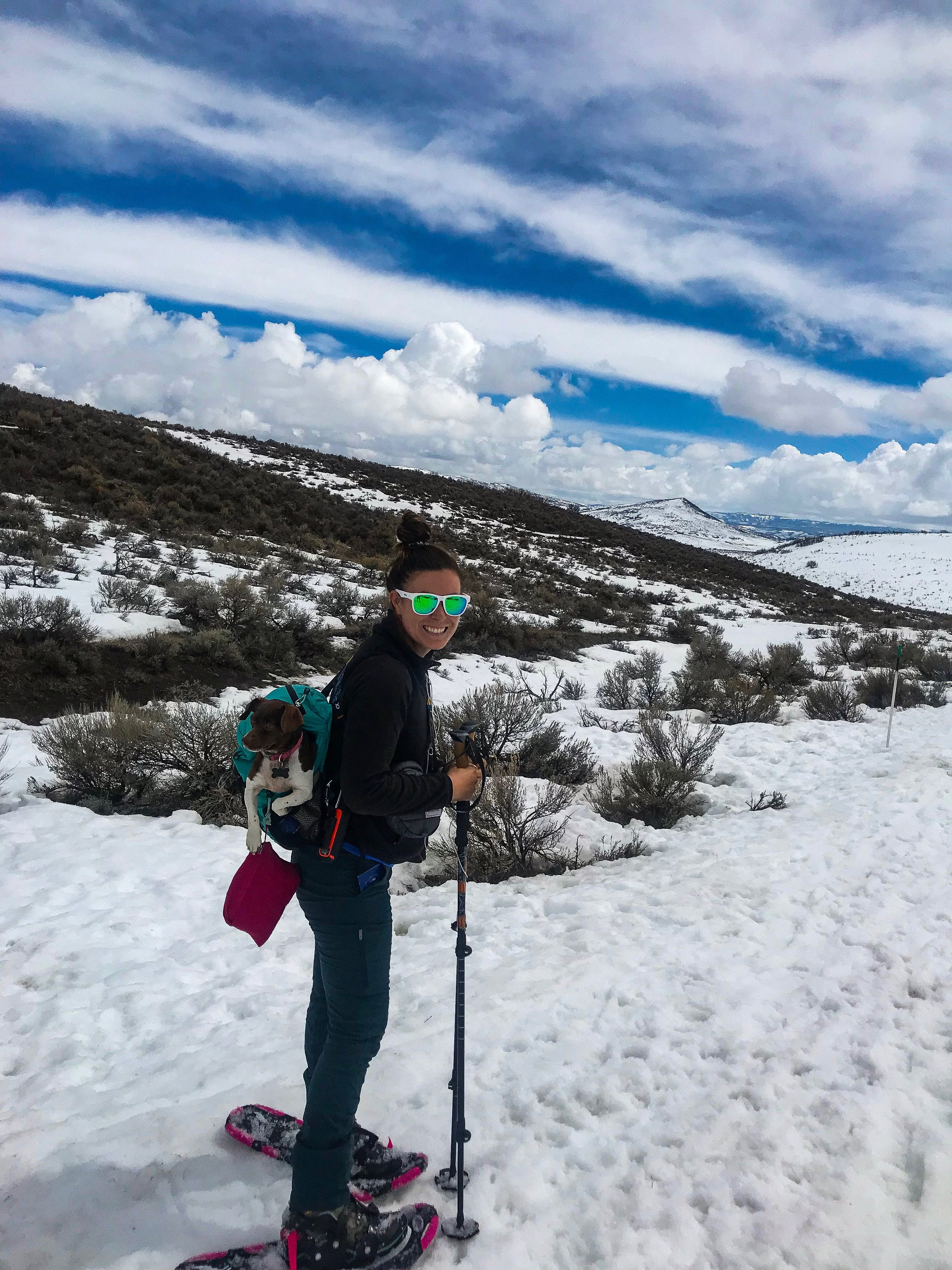 After 3 miles of post-holing in Northern Utah, I had to pack Moo in my tiny foldable day pack but as always, she loved it!