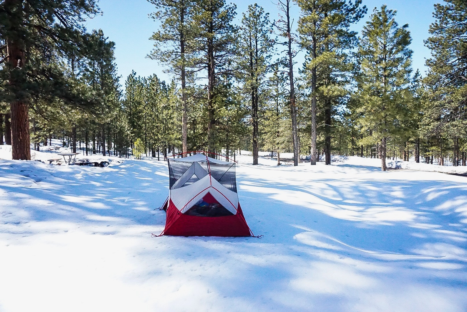 Snow camping in Bryce Canyon National Park. All campgrounds in Bryce are first-come first-serve this year due to construction.