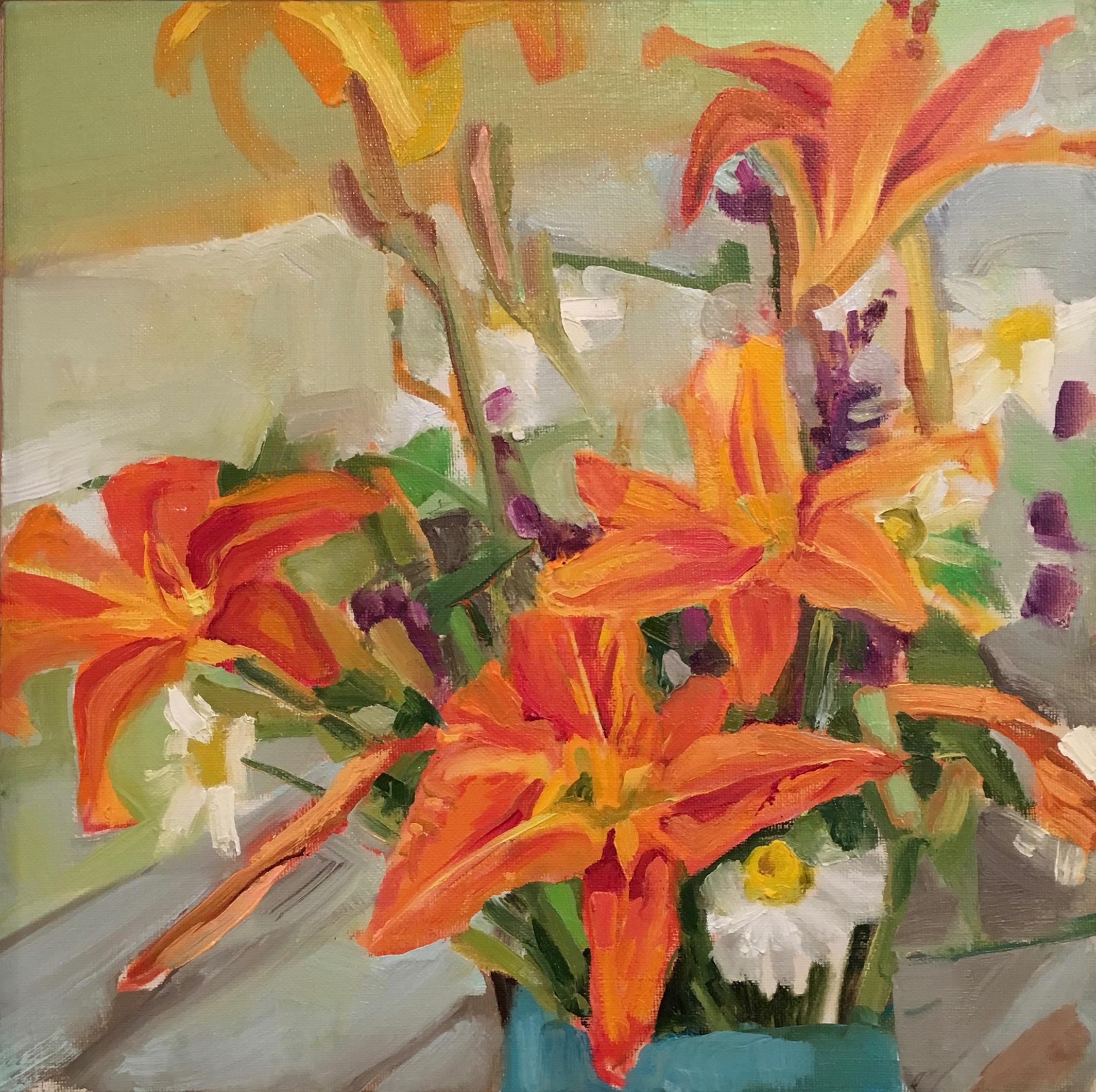 Daylilies, Oil on Linen -