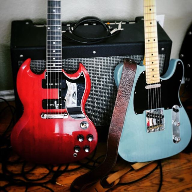 A Gibson and a Fender.....what else do you need? #musicianlife #guitar #davemyersmusic #musicgear #gibsonguitars #fender #telecaster #gibsonsg #guitardaily #musician #guitarrista #countrymusic #rocknroll #rockmusic