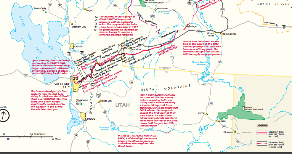 Download or view the PDF map at NPS   to see details of the Mormon Pioneer Trails and read about their journey along the trail. Once the map is accessed, click the + sign repeatedly in the bottom left corner to enlarge the map.