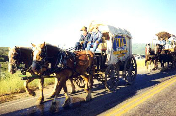 "Made July 22, 1997 just north of East Canyon Reservoir, East Canyon, Utah.   Utah State Wagon.  Photograph by Steve Berlin.  The ""Utah Wagon"" made the entire 1100 mile journey."