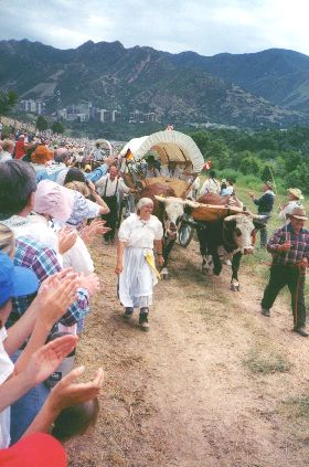 Made July 24, 1997 at Place State Park, Salt Lake City, Utah.  Another Ox Team. Photograph by Steve Berlin.  This ox team pulls a wagon made in Germany and shipped to Salt Lake City for the last portion of the trip.