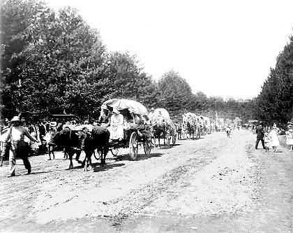 Made July 2, 1897 Salt Lake City, Utah.  Triumphal Entry 1897. Used by permission, Utah State Historical Society, all rights reserved - Photograph: Salt Lake Tribune.  The Silver Jubilee re-enactment company's greeting by parade-goers is recorded here but no details as to the exact location of the photograph accompany it.