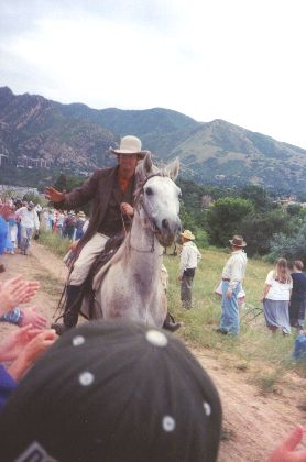 Made July 24, 1997 at This is the Place State Park, Salt Lake City, Utah.  Wagon Train Scout. Photograph by Steve Berlin.  This rider served as scout for the company across Wyoming and Utah.