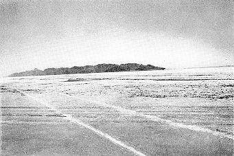 """11. Made: 9/36 Great Salt Lake Desert, Utah.Approaching The Big Bend - Historical Photograph, 1936. Photograph: Copyright © 1936-50, Dr. Walter M. Stookey.  This photograph is from  Fatal Decision, The Tragic Story of the Donner Party , Dr. Walter M. Stookey, Salt Lake City: 1950. Dr. Stookey, a Grantsville, Utah physician had an avid interest in the Donner Party and the Hastings Trail across the salt desert. In his book he captions the picture, which appears on page 103, as follows:   """"Photograph of wagon tracks of Donner Party across Salt Flats made September 1846. Photo taken September 1936 by Dr. Walter M. Stookey.""""   The view is northwest toward Floating and Silver Islands. Floating Island is the dark object at the top of the plain in the center of the picture. Here the trail proceeds west before reaching the """"Big Bend"""" where it turns northwest toward Silver Island Point. This view shows the remarkable preservation of surface indications of the tracks."""
