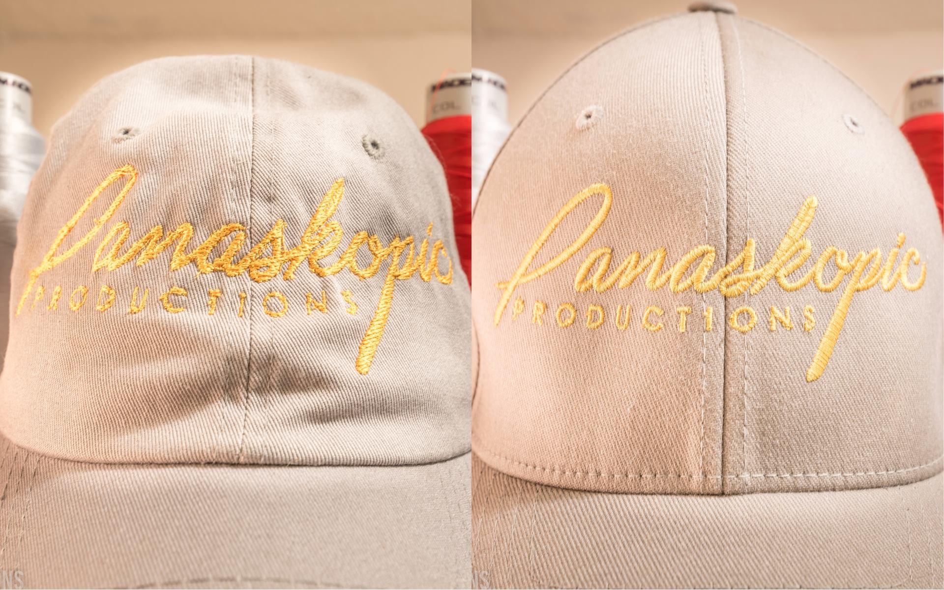LEFT SIDE:  Hat embroidered at another embroidery shop •  RIGHT SIDE:  Hat embroidered by Panaskopic Embroidery