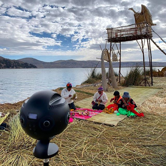 Filming local communities at Lake Titicaca! 🛶👾 #insta360 #insta360pro #puno #titicaca #360video #peru
