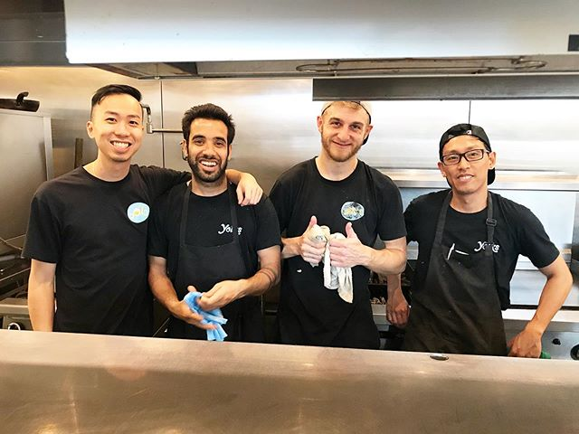 Leo, Sonny, Danny, & Anton are eggcited for weekend brunch, are you? - Drop by our Hastings location and witness these gentlemen making brunch magic happen! 🙂 . . . . . . . . . . . . . . . #thefolksatyolks #yolksteam #yolksbreakfast #kitchencrew #kitchenteam #bestofvancouver #dailyhivevan #curiocityvan #narcityvancouver #veryvancouver #saturdaymorning #weekendvibes #brunchtime #brunchto #vancouverisawesome #eatcouver #yvreats #vancityeats #dishedvan #kitchen #foodstagram #weekendbrunch #brunchboys #thefeedfeed #brunchgoals