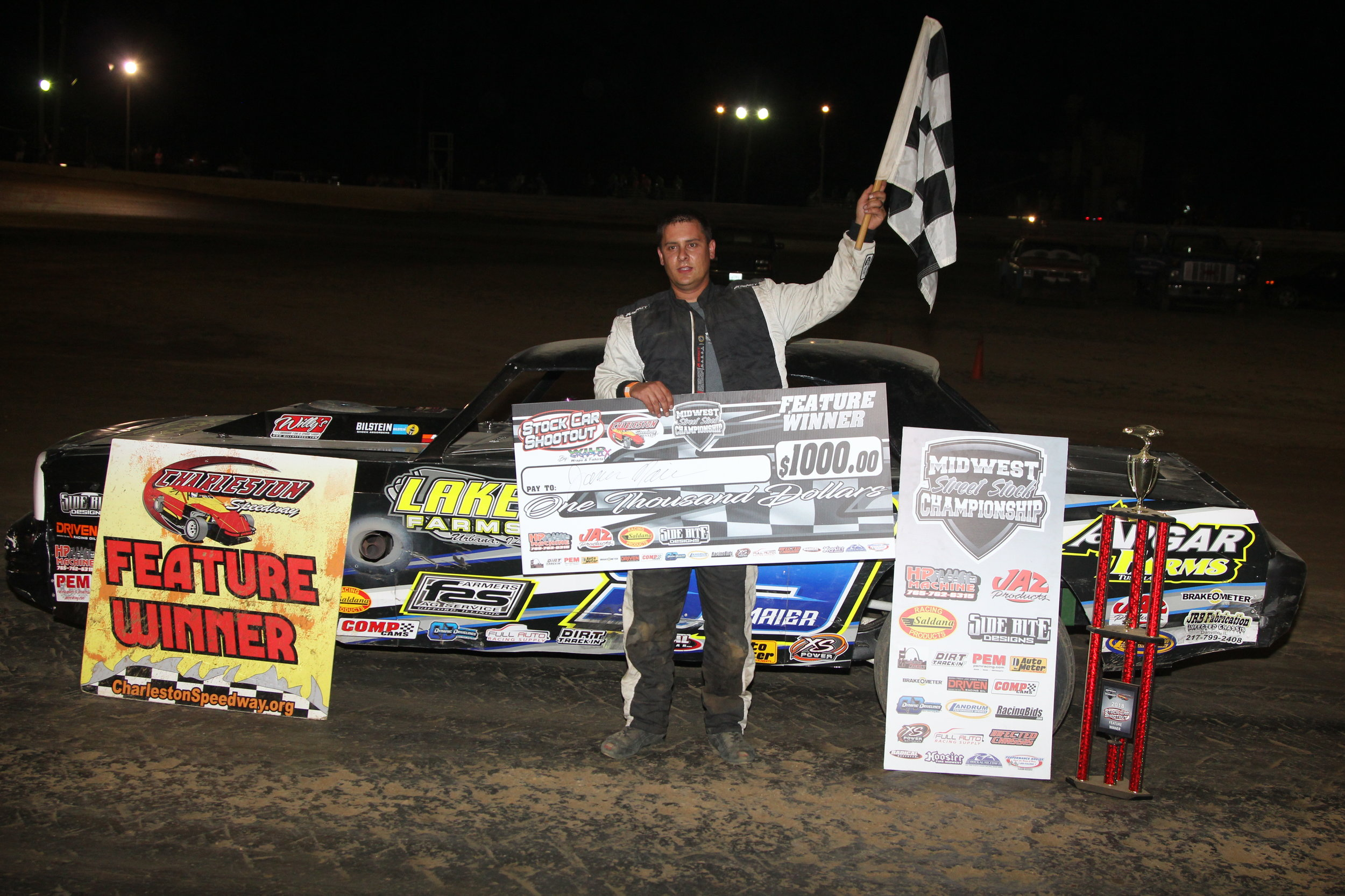 Jason Maier in victory lane after picking up the hard fought win in the Stock Car Shootout Presented by  Wildgraphix  at Charleston Speedway.  Photo: A.E. Blair Photography