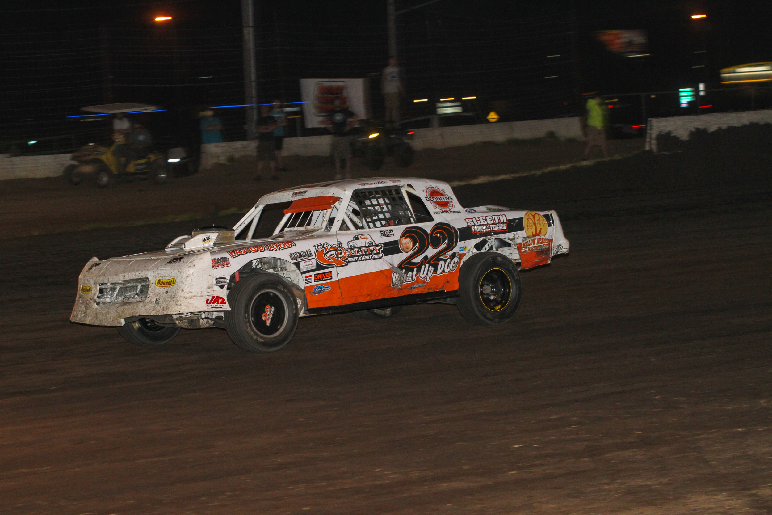 Darrell Dick closes in on Jeremy Nichols as the laps wind down in the Railsplitter 40. Darrell would finish second.  A.E. Blair Photography Photo