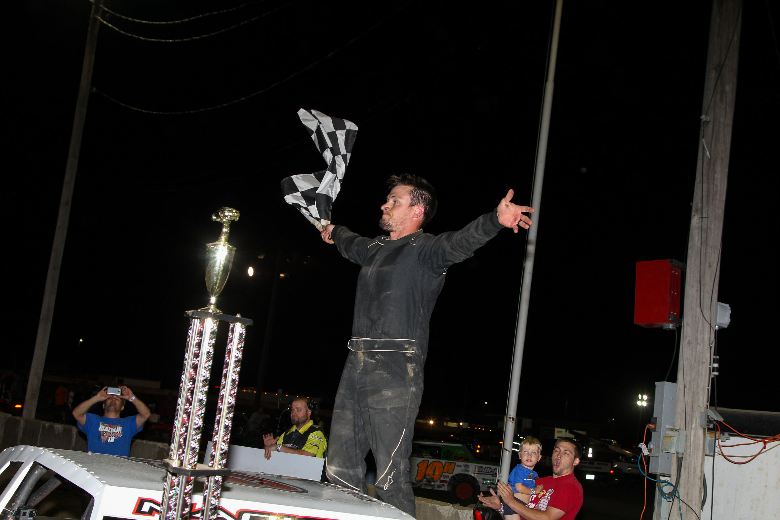 Nick Macklin celebrates in victory lane after capturing the inaugural Boulder Designs Chamaban 40 on July 20.  A.E. Blair Photography Photo