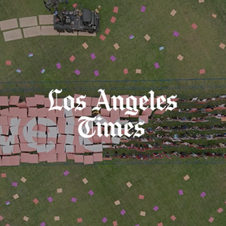 Los Angeles tourism board to spell it out: Everyone is Welcome.   Travelers flying into Los Angeles International Airport on Saturday will get an unusual welcome to the city, even before their planes touch the ground.