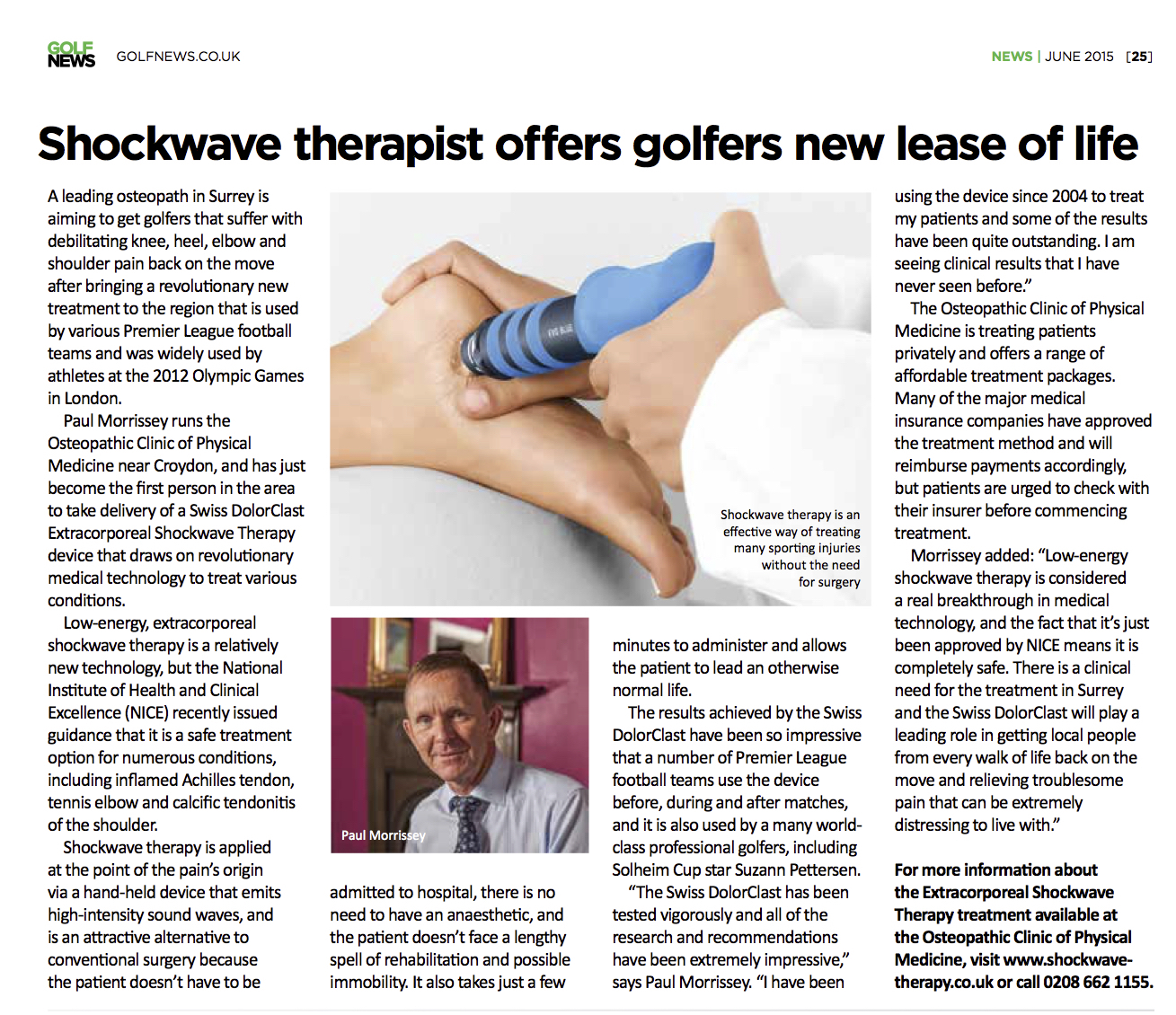OC in the News - Shockwave therapy with Golf News
