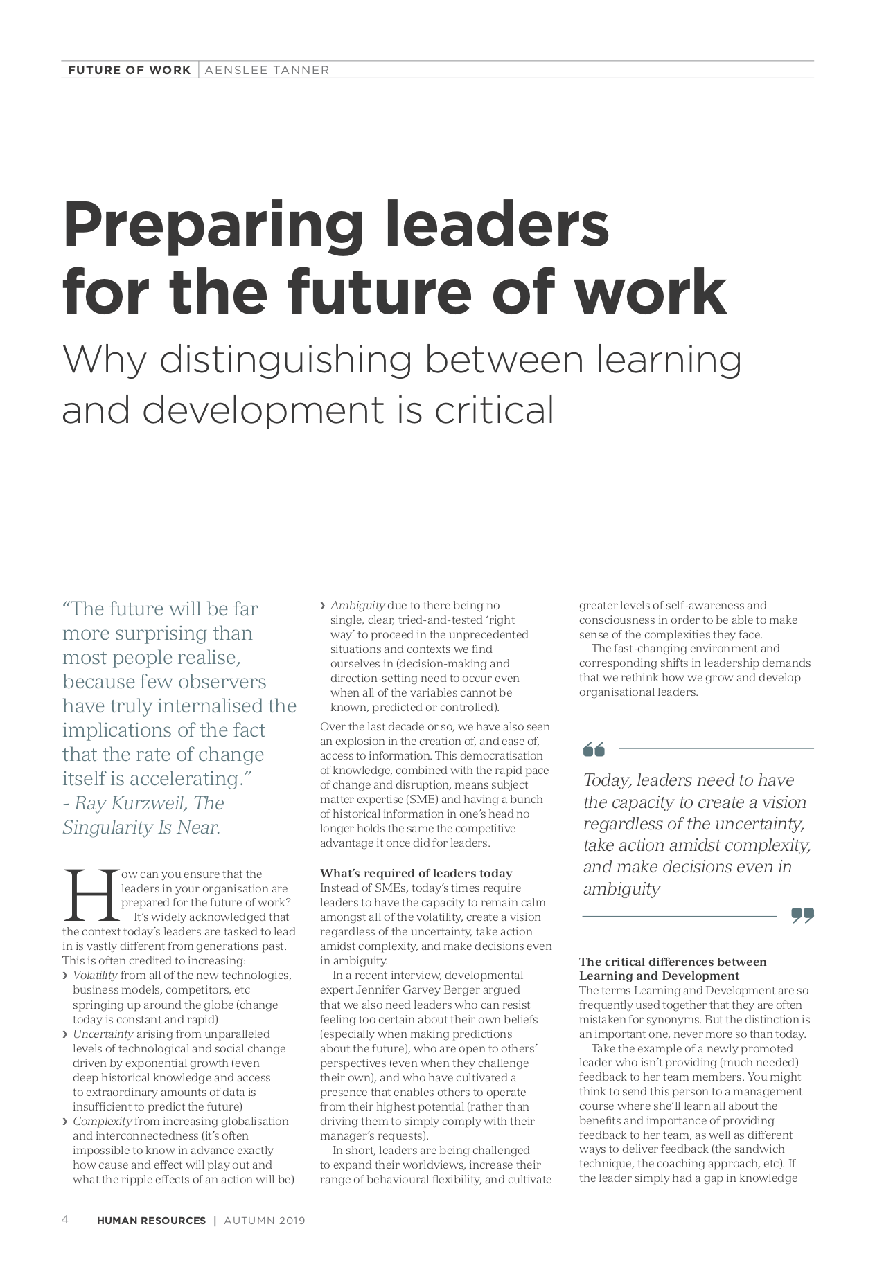 Preparing Leaders for the future of work
