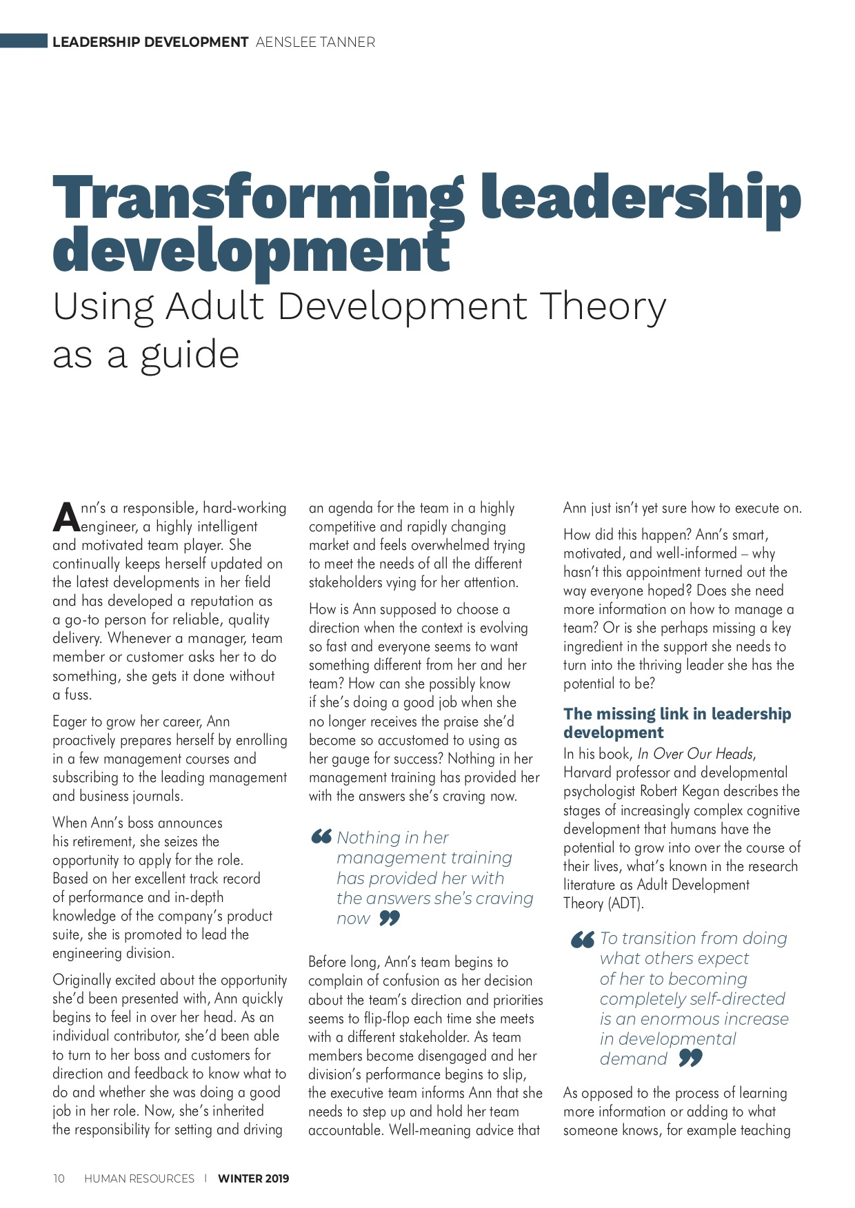 Transforming leadership development - using adult development theory as a guide