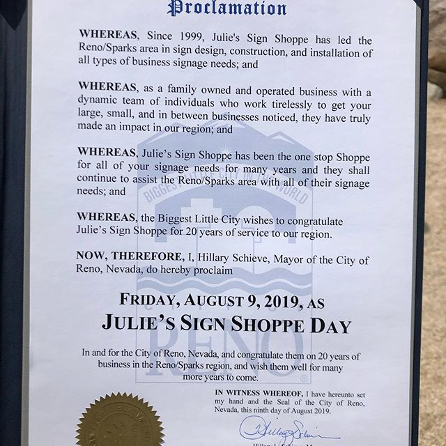 It's Julie's Sign Shoppe Day!