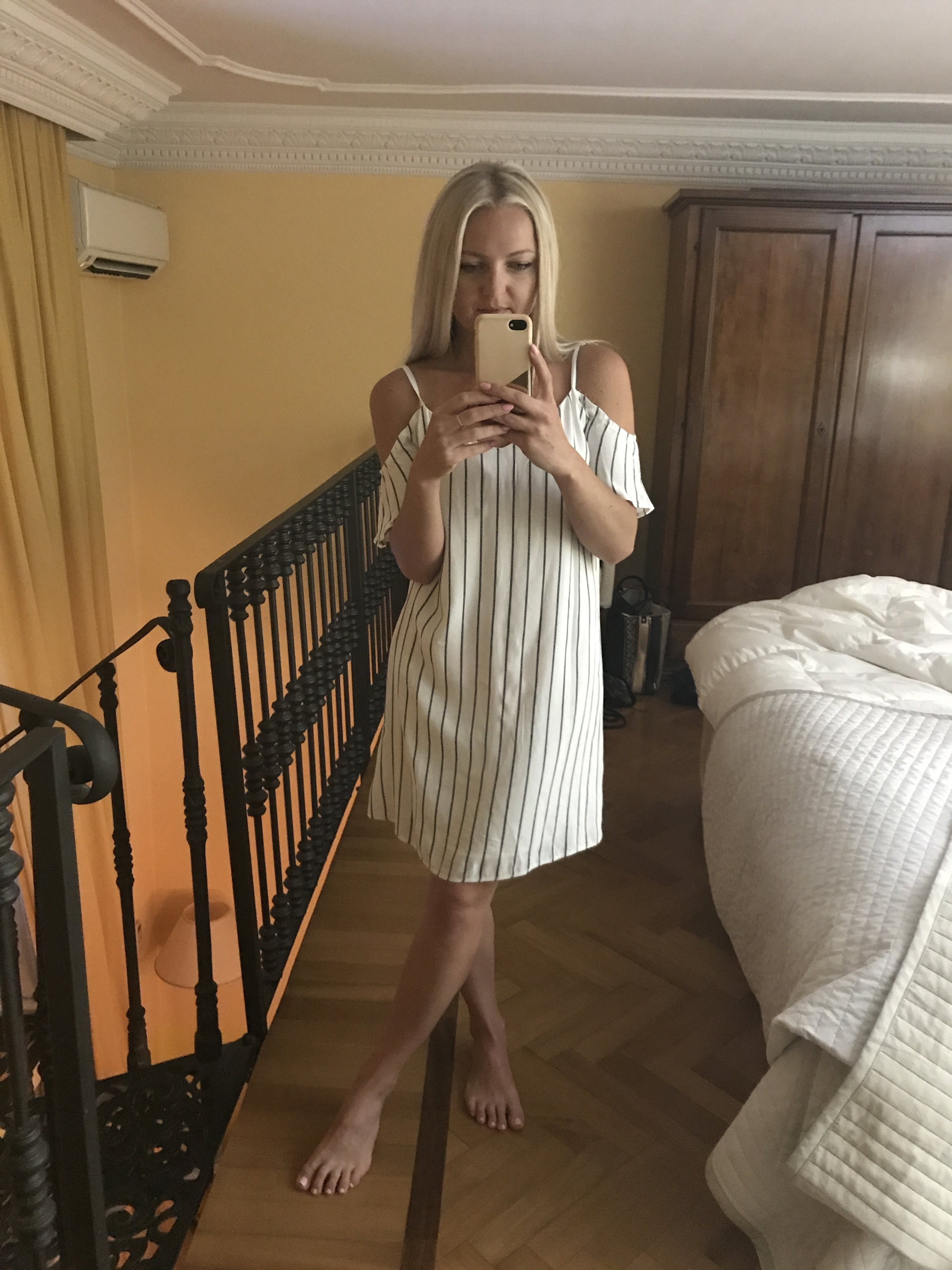This is the dress I bought in Milan. Selfie was taken in our Milan Airbnb, which was SO cute!