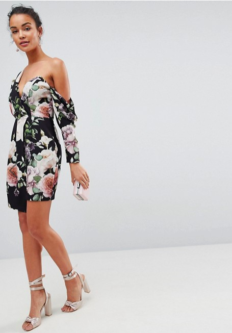 Beautiful blooms - Of course, this post wouldn't be complete without a dress from ASOS. This dark beauty had me at asymmetrical hemline and single bare shoulder.