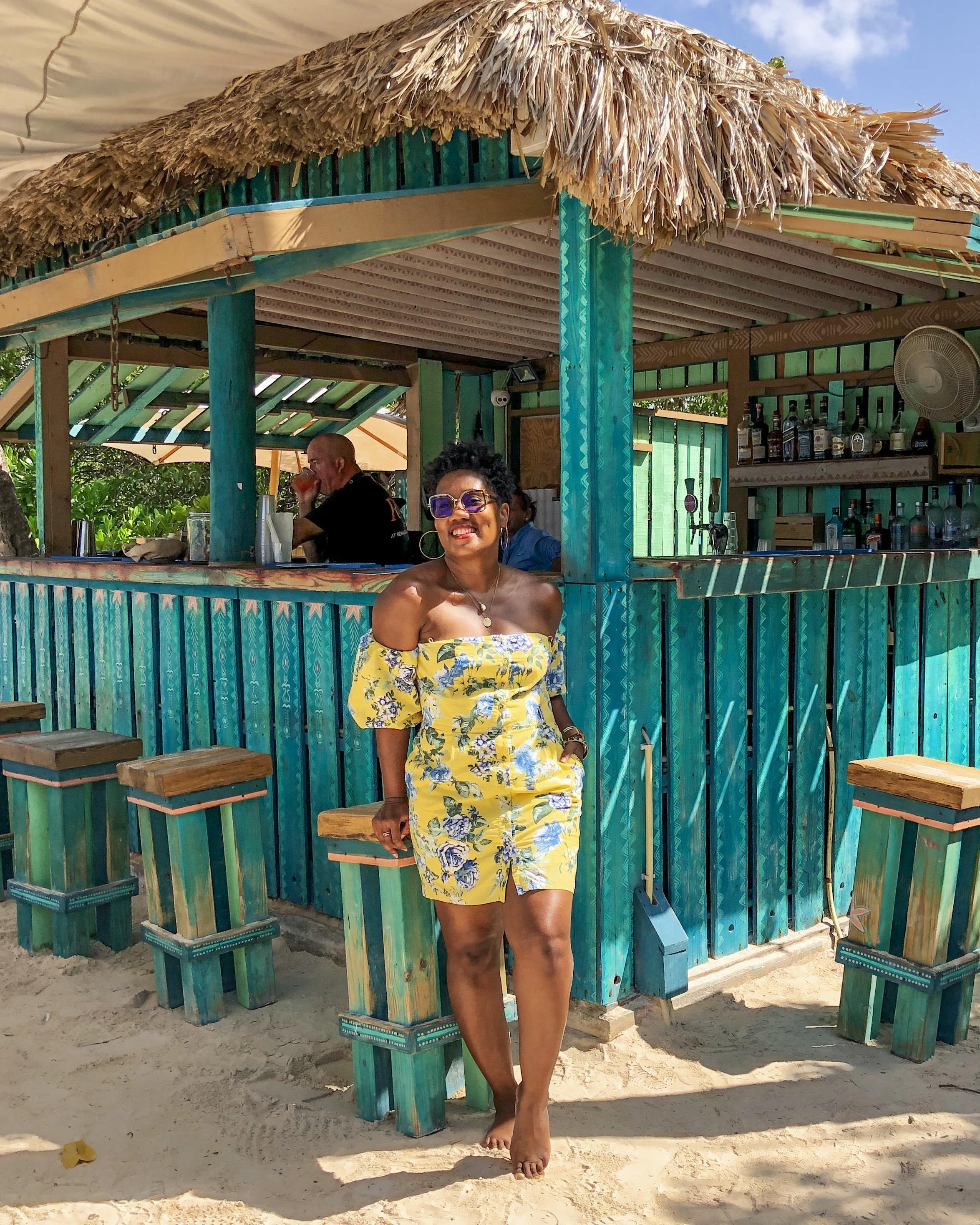 Bar on Flamingo Island Shop my look:  Yellow, puff sleeve mini dress