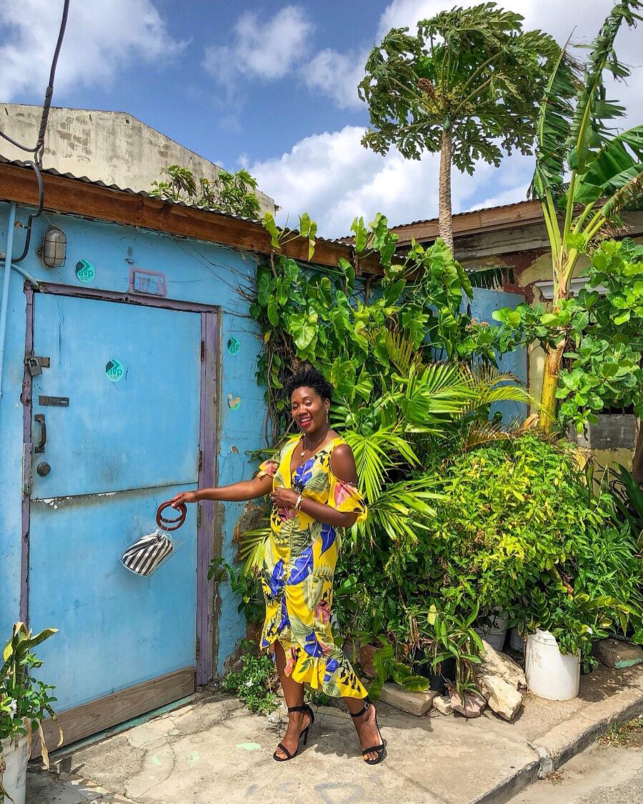 Shop my look:   Tropical Print Dress       Clear/Striped handbag       Black Sandals