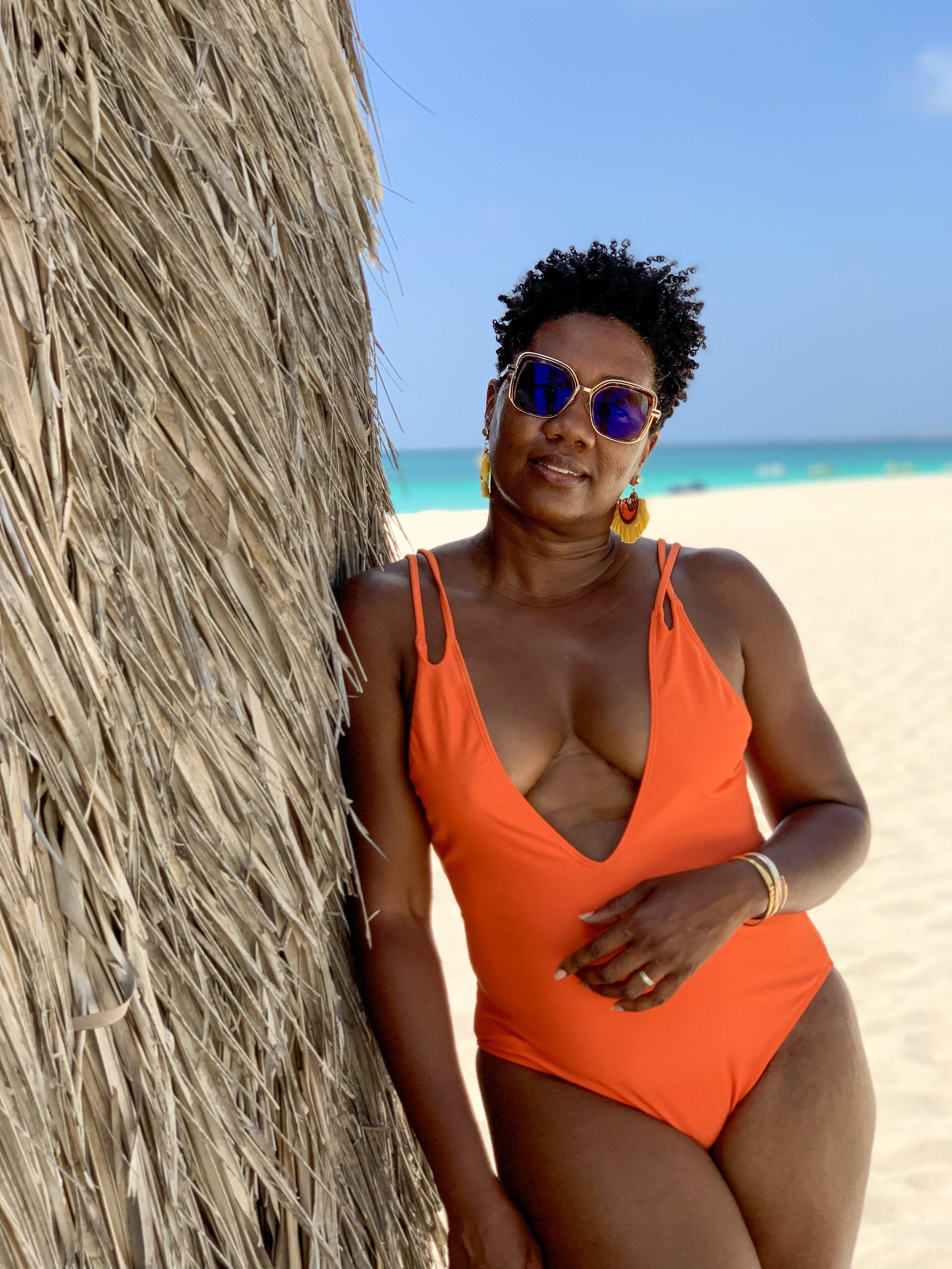 Eagle Beach, Aruba  Orange Swimsuit